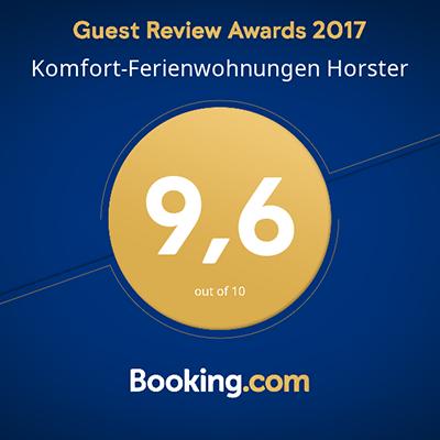 Booking.com Gästebewertung mit 9,6 Punkten